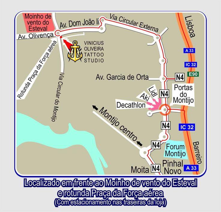 Map, mapa, Montijo, Portugal, Bairro Esteval, rotunda praça força aérea, tattoo studio, Montijo, setubal, Moita, Pinhal Novo, margem Sul, Lisboa