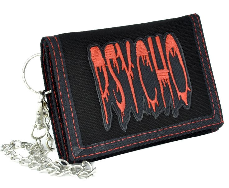 """- Psycho Tri-Fold Wallet - Black Nylon Tri-Fold Wallet with Red Trim Stitching - Comes With Chain (Removable) - 3 1/4"""" Inches Wide, 5 1/4"""" Inches Long (Closed) - Strong and Durable / Velcro Closure"""