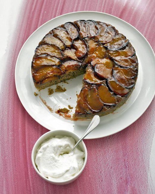 Plum Upside-Down Cake-  Plums are falling off the trees now.   So. . . cake time!