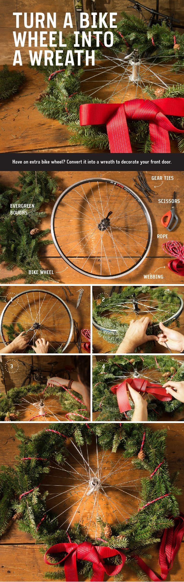 Holiday Hack: Turn a Bike Wheel Into a Wreath