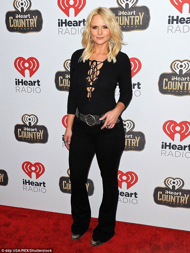 She's slaying them: Miranda Lambert held sway in a slimming black ensemble as she attended the iHeartCountry Festival in Austin, Texas on Saturday
