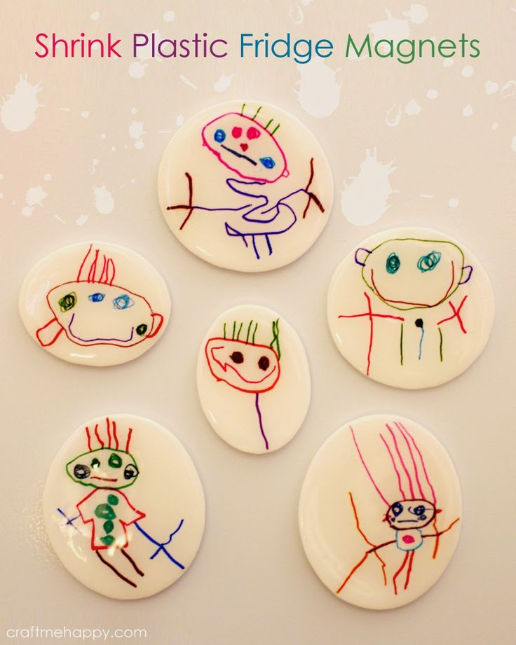 DIY fridge magnets out of a child's artwork by Craft me Happy! Turn those first drawings into fridge magnets using inkjet shrink plastic.