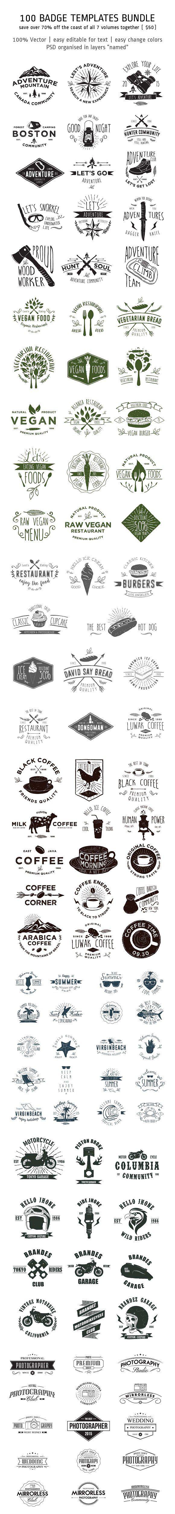 100 Badge Templates Bundle by alit design on @creativemarket