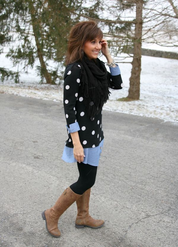 Polka Dot Tunic with leggings and brown boots for women's fashion.
