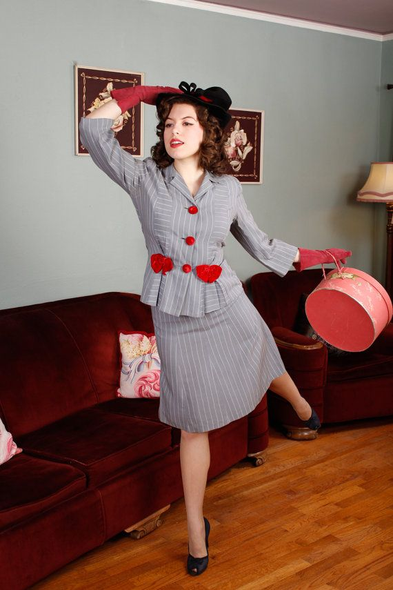 Vintage 1940s Suit - Grey Pinstripe Suit with Velvet Bows - Carefree From Etsy Shop Fab Gabs- Portland
