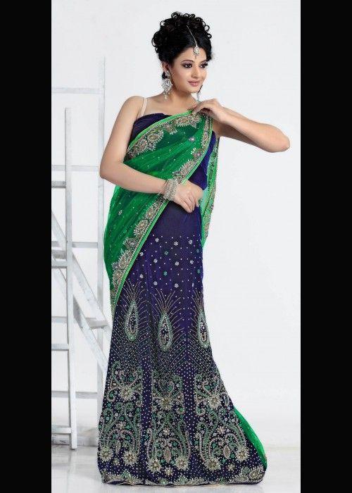 Blue & Green Net, Velvet Lehenga Sari . Shop at - http://www.gravity-fashion.com/15548-blue-green-net-velvet-lehenga-sari.html