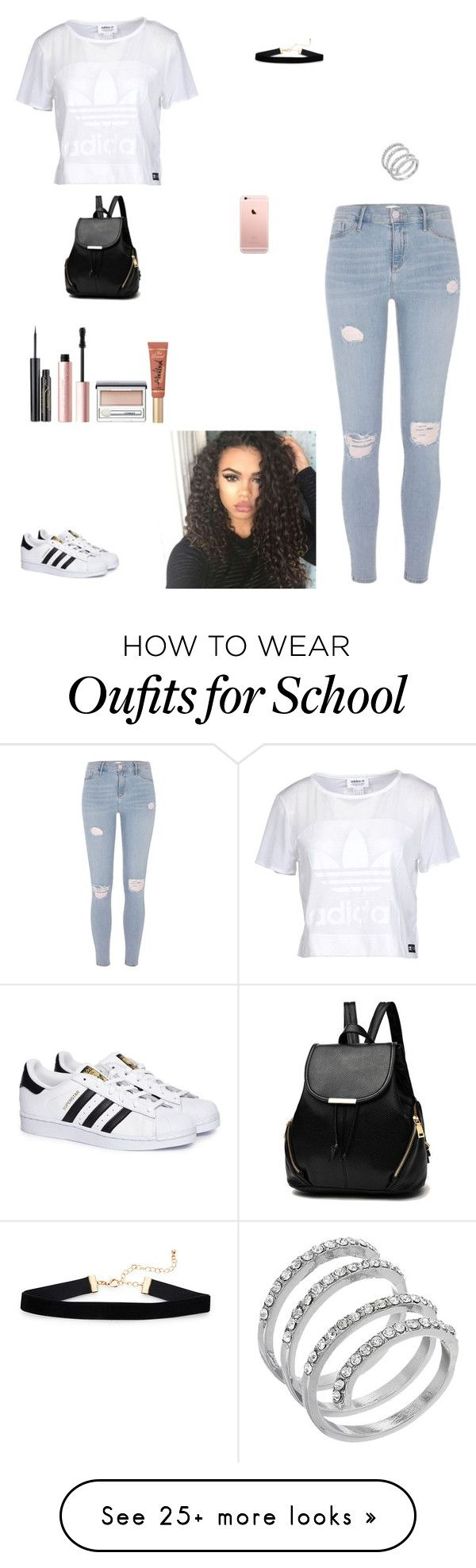 """tomorrow at school"" by kittykat125 on Polyvore featuring adidas Originals, River Island, adidas, GUESS, Elizabeth Arden, Too Faced Cosmetics and Clinique"