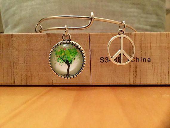 Tree Of Life Expandable Peace Charm Bangle