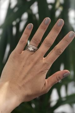 QVC Presenter Katy Pullinger - Nails Inc nail colour and stunning double row diamond ring. Both from QVC Uk.