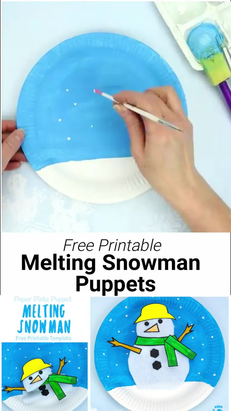 This Paper Plate Melting Snowman Craft tops the bill with adorability. If you've got kids that love to build a snowman then this is the Winter craft for them! Use our free printable template to make a snowman puppet that can melt to the ground and then pop back up ready to start the fun and games all over again! A fun paper plate craft for Winter. #kidscraftroom #snowman #snowmancrafts #paperplates #paperplatecrafts #kidscrafts #wintercrafts #puppets #puppetcrafts #craftsforkids  #printables