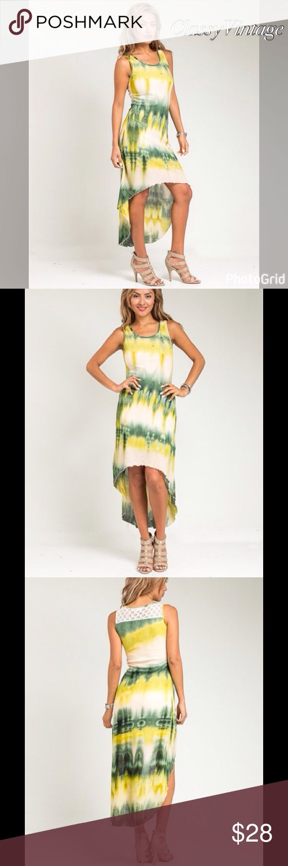 Hot tie dyed hi low dress Hot spring colors in this fun tie dyed hi low dress. Form fitting with a lace inset in top back. boutique Dresses High Low