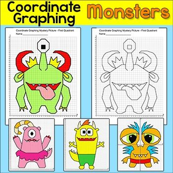 Graphing Coordinates Monster Mystery Pictures - Practice plotting ordered pairs with these fun coordinate graphing monsters mystery pictures! This activity is easy to differentiate by choosing either the first quadrant (positive whole numbers) or the four quadrant (positive and negative whole numbers) worksheet.