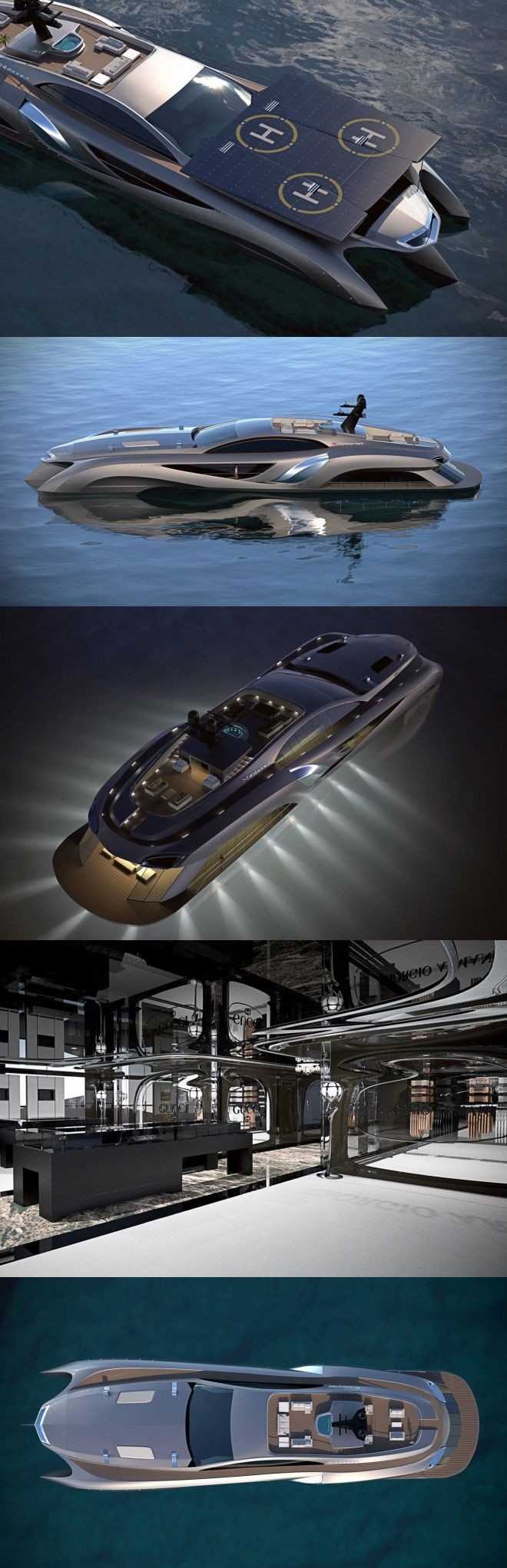 ♂ Masculine & elegance This extraordinary yacht by Gray Designs is 75-meters in size and decked out with the best of technology and design. Features a car showroom, retail space, entertaining room and a roof with built-in solar panels that double as a helicopter landing pad. On the engine side, it boasts a 630-horsepower V12 engine, making quick getaways a breeze. Original from http://airows.com/xhibitionist-superyacht-by-gray-designs/