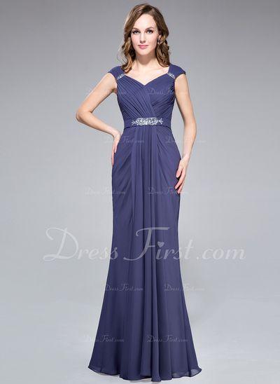 Trumpet/Mermaid V-neck Floor-Length Chiffon Evening Dress With Ruffle Beading (022027391)