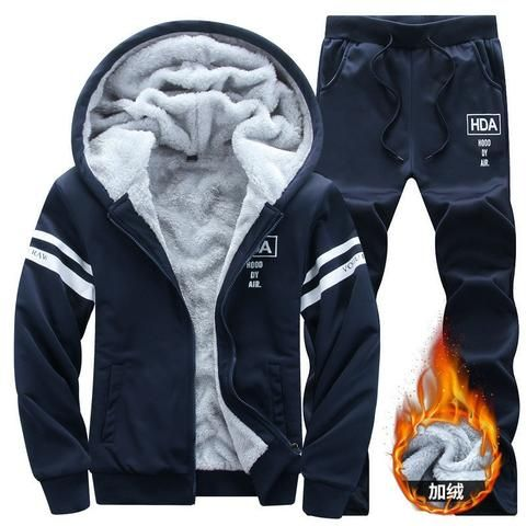 aa5f2e07 New Winter Tracksuits Men Set Thicken Fleece Hoodies + Pants Suit Spring  Sweatshirt Sportswear Set Male Hoodie Sporting Suits
