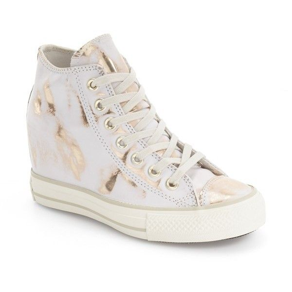 Women's Converse Chuck Taylor All Star Lux Brush Off Hidden Wedge High... ($85) ❤ liked on Polyvore featuring shoes, sneakers, star sneakers, hidden wedge sneakers, white shoes, high top hidden wedge sneakers and high top shoes