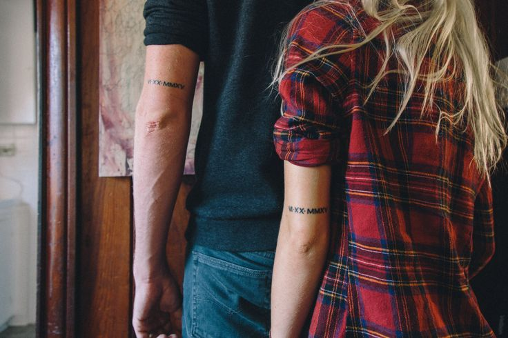 """natemeg: """" Last week we got our wedding date tattooed on our arms. 6.20.2015 // VI.XX.MMXV """""""