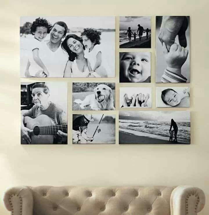 Love this black & white photo canvas wall!