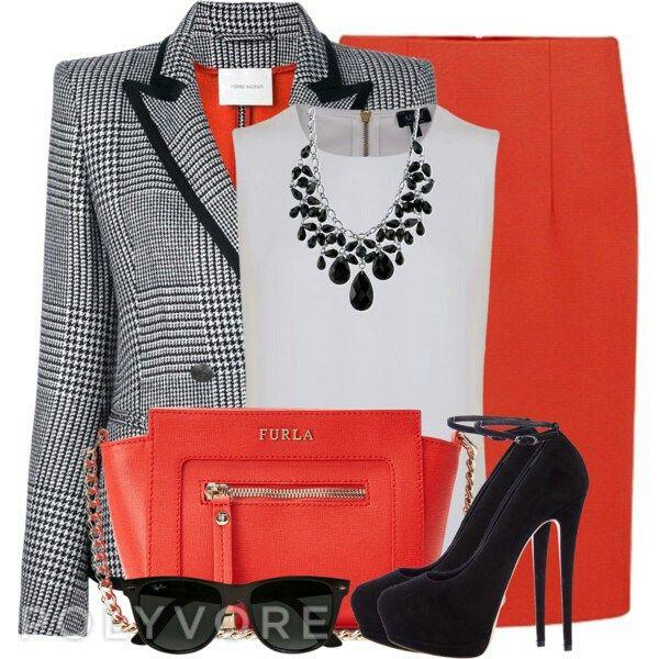 Bright Skirt & Houndstooth Blazer