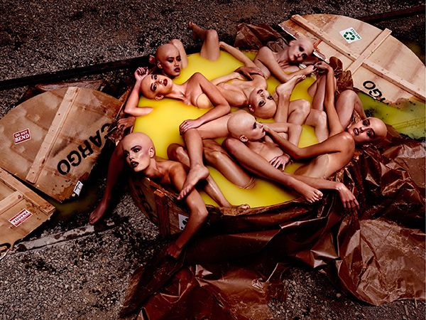 Germany's Next Top Model featuring Heidi Klum is fully embracing the dehumanization agenda of the fashion industry. Here the contestants are  portrayed as disposable, lifeless mannequins with no distinguishing feature shipped inside a crate full of goo. So inspiring.