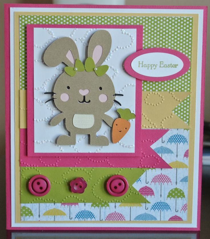 Easter card #2, use your Cricut and Stampin' Up! together