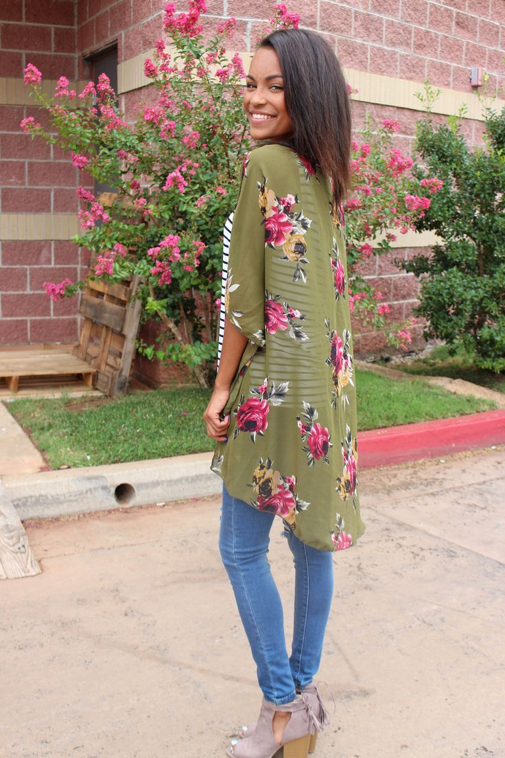 Emory floral Fall kimono olive. This popular print is now available in colors perfect for transitioning into Fall in! We love it worn over a striped Piko tank top with denim and ankle booties! Also gr