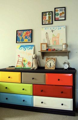 Colorful painted dresser - with colors in baby's room, navy blue, turquoise, lime and hot pink if it's a girl:) with white on the outside!