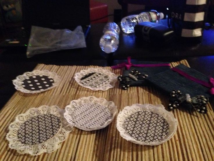 coasters made by paper and old denim material!