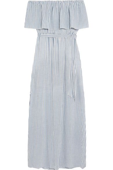 Alice Olivia - Grazi Off-the-shoulder Striped Poplin Maxi Dress - White - US12