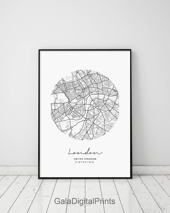 Circle Map London Circle City Map Circle London Map Print