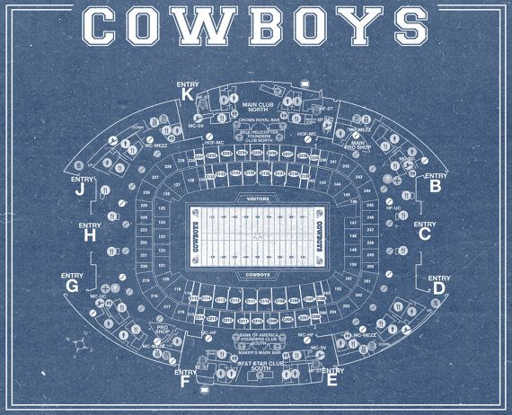 Print of Vintage Dallas Cowboys AT&T Stadium Seating by ClavinInc
