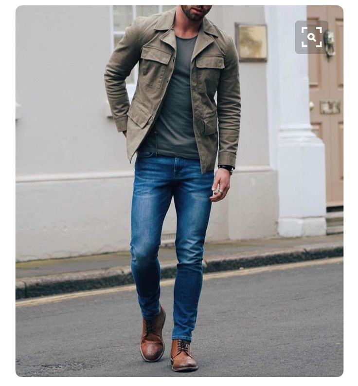 Stitch Fix Men - great casual men's outfit.  Muted earth tones, straight leg jeans and fitted tee.  Love the jacket and shoes.