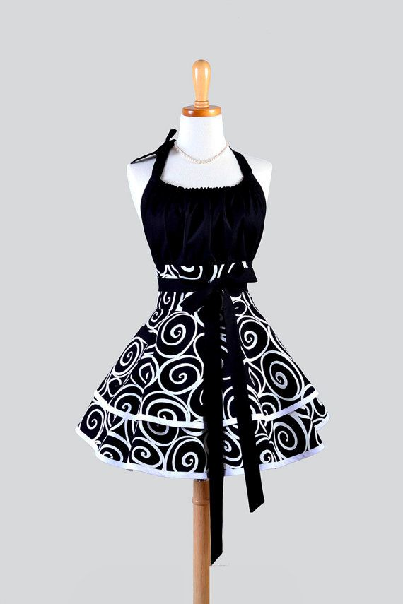 Flirty Chic Womens Aprons - Full Retro Sexy Kitchen Apron in Vintage Black and White Swirls Ironworks Cute Pinup Womans Cooking Apron