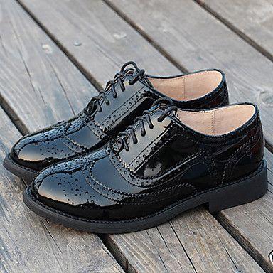 Dame Fladsko-Læder-Sko og matchende sko-Dame-Sort / Brun-Hverdag-Flad hæl udvalgt materiale