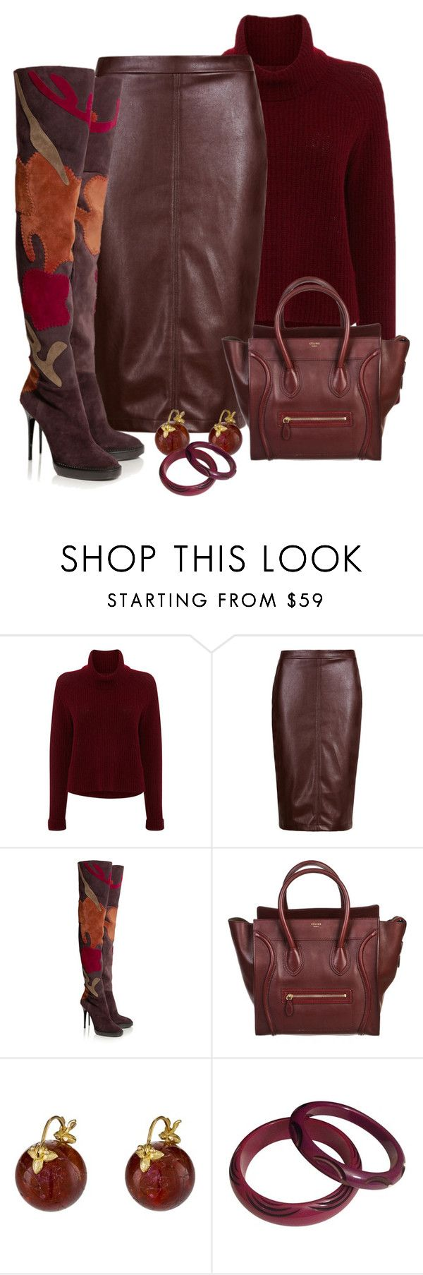 """Suede"" by terry-tlc ❤ liked on Polyvore featuring 360 Sweater, Burberry, CÉLINE and Gabrielle Sanchez"