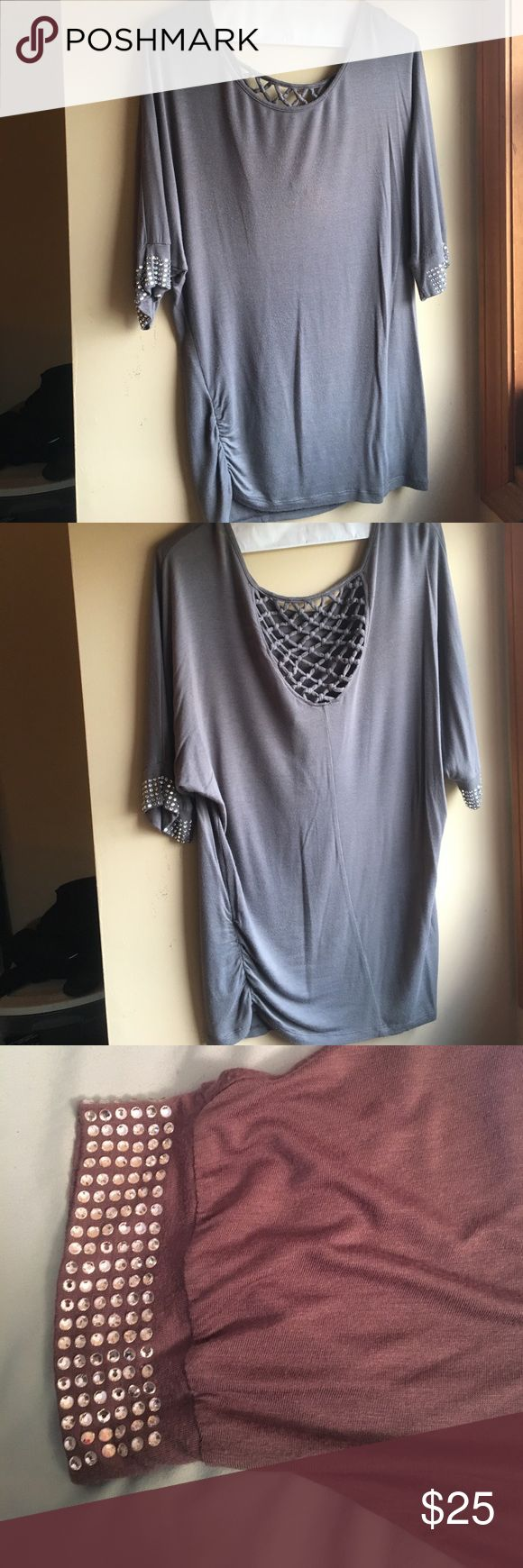 Daytrip  gray blouse with embellished sleeves Daytrip, medium, gray blouse with embellished sleeves. Worn a few times. Great condition and super comfortable! Looks great with leggings and heels! Daytrip Tops Blouses