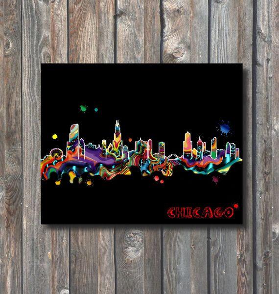 PRINTABLE Chicago Skyline Wall Art-Printable by HappyFiestaDesign