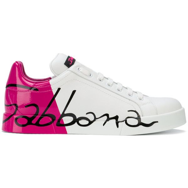 Dolce & Gabbana varnished logo sneakers ($820) ❤ liked on Polyvore featuring shoes, sneakers, white, sports trainer, summer flat shoes, white sneakers, flat shoes and summer sneakers