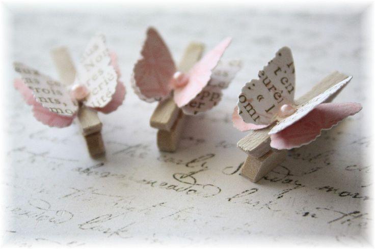 Alterado de ropa madera mini Pin mariposa por LittleScrapShop