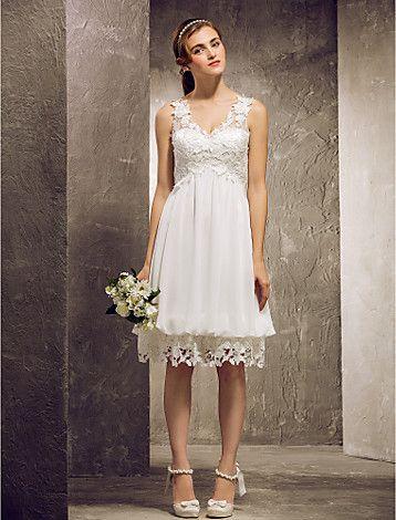 -line princezna výstřih kolena šifon a krajky družička šaty (682808) - GBP £ 44.05 BARVA SLONOVINOVÁ