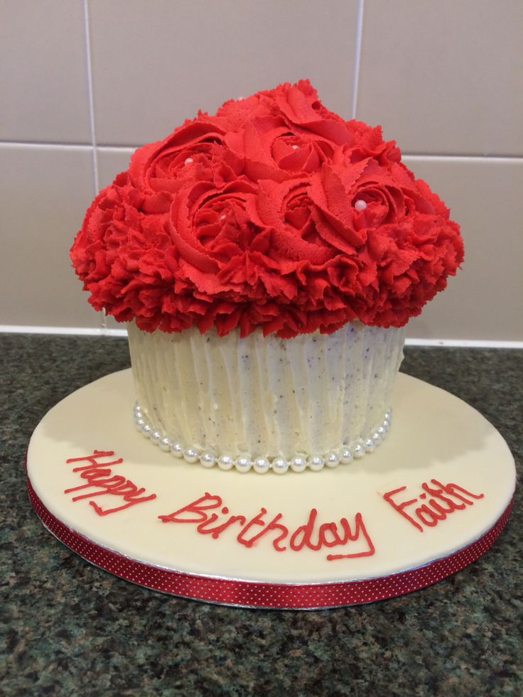 Red rose giant cupcake, 21st birthday cupcake, valentines cake idea