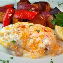 Halibut Supreme! Made with mayo, cheddar cheese, sour cream, lemon juice...Yummy!  Need to make this!