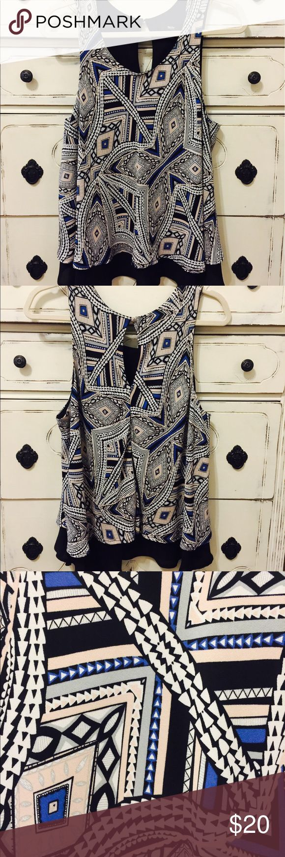 Multicolored Aztec Blouse (L) Multicolored Aztec Double Layered Tank Blouse. Black, light gray, cobalt blue, blush pink and white. 100% Polyester. Machine wash cold, tumble dry low. Like new. Worn only a few times. Mossimo Supply Co Tops Blouses