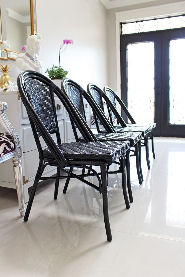 Black paris cafe bistro chairs bistro chairs rattan and aluminum cane frame indoor