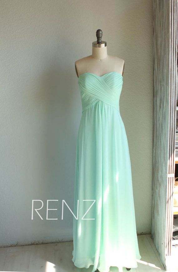 2015 Mint Bridesmaid Dress Long Wedding dress Empire di RenzRags