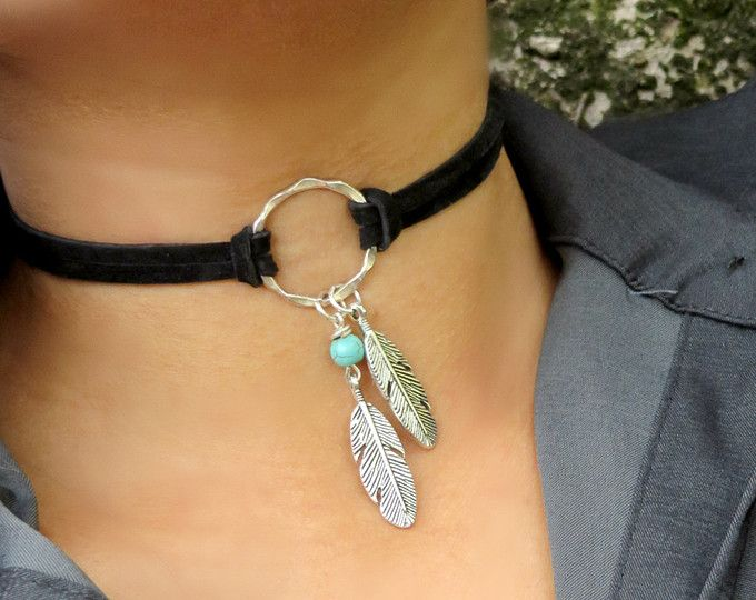 Choker Necklace, Suede Choker Necklace,  Bohemian Feather Necklace, Native American Style Jewelry, Ring Choker, Leather Choker,Boho Jewelry