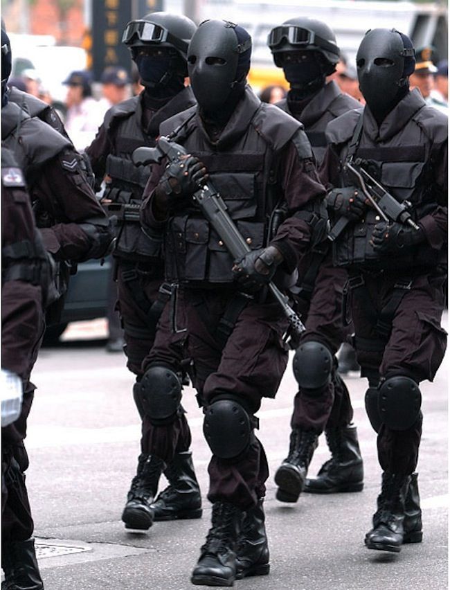 Some special operations group in Asia that has bulletproof face masks.