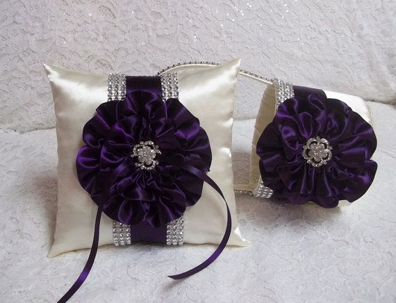 flower girl baskets | Purple Bling Flower Girl Basket and Ring Bearer Pillow Set, Dark Plum ...