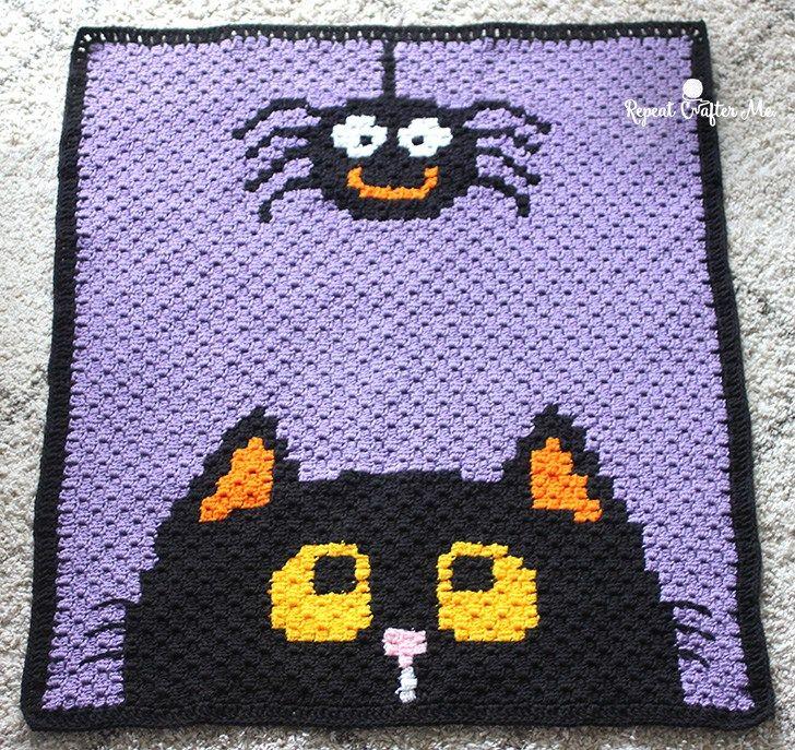 Crochet Halloween C2C Blanket - Repeat Crafter Me