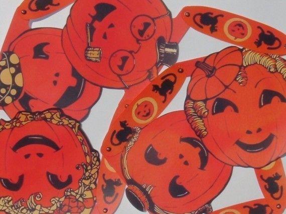 Printable Vintage Halloween Pumpkin Banner Printable Halloween Party Decoration Retro Halloween Digital Collage Sheet Instant Download